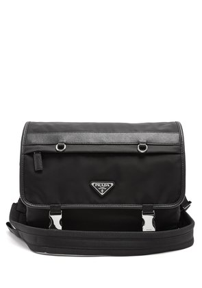 Leather-trimmed nylon messenger bag