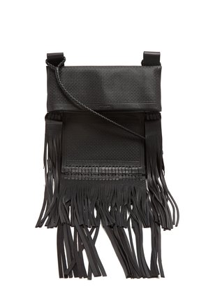 Fringed-leather cross-body bag