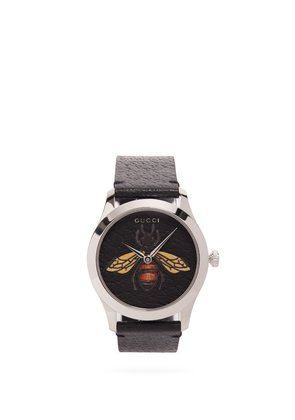 G-Timeless bee-embellished leather watch