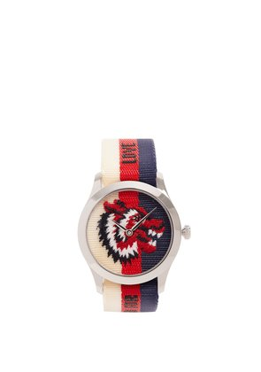 G-Timeless Web-striped canvas watch