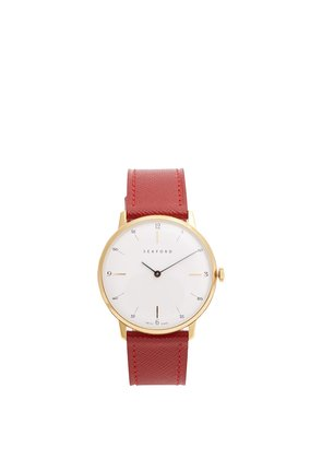 Type 1A stainless-steel and saffiano-leather watch