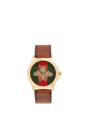 Bee-embroidered watch