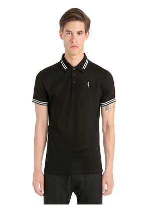 PRINTED BOLT COTTON PIQUE POLO SHIRT