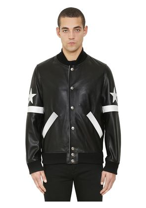 STARS PATCH LEATHER BOMBER JACKET