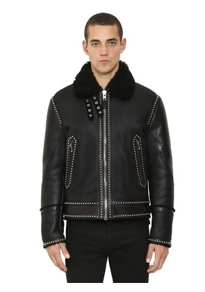 STUDDED LEATHER SHEARLING JACKET