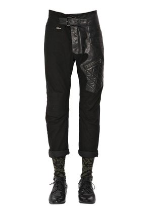 SLIM COTTON & LEATHER BIKER PANTS