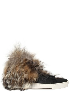 20MM COYOTE FUR & LEATHER SNEAKERS