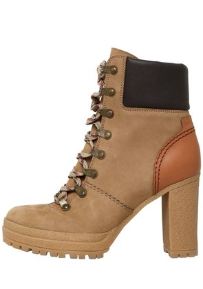 100MM SUEDE LACE UP BOOTS