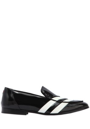 WHITE STRIPED LEATHER LOAFERS