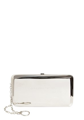 MEDIUM SILVER METAL BOX CLUTCH