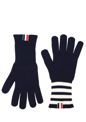 CASHMERE KNIT GLOVES W/ STRIPES