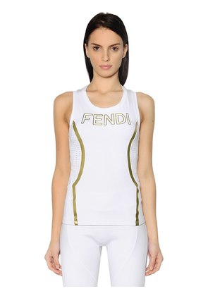 EMBOSSED LOGO STRETCH JERSEY TANK TOP