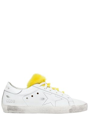20MM SUPER STAR LEATHER & MINK SNEAKERS