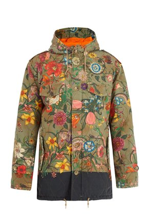 Floral-print quilted cotton parka