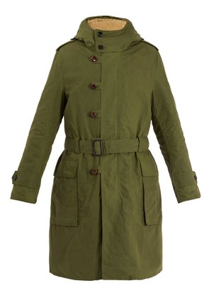Teddy back embroidered hooded cotton parka coat