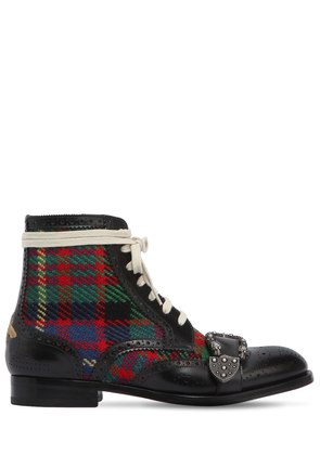 QUEERCORE LEATHER & TWEED BOOTS