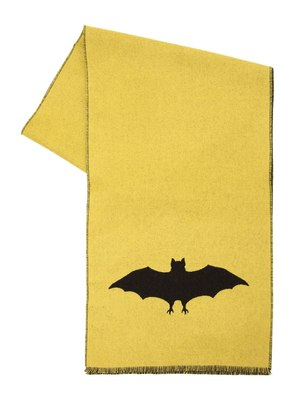 BAT JACQUARD WOOL KNIT SCARF