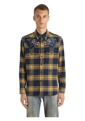 WOLF PATCHES ON COTTON FLANNEL SHIRT