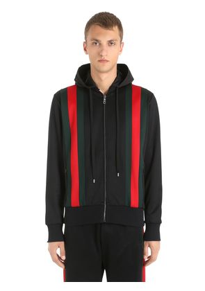 WEB STRIPES JERSEY BOMBER TRACK JACKET