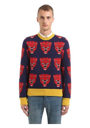 TIGERS WOOL JACQUARD KNIT SWEATER