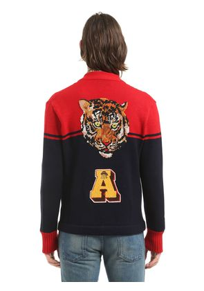 WOOL CARDIGAN W/ TIGER PATCH ON BACK