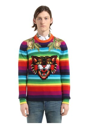 CAT STRIPED WOOL SWEATER