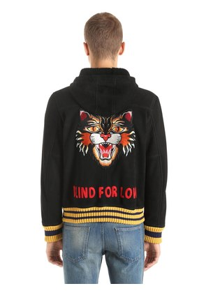 ANGRY CAT HOODED SHEARLING BOMBER JACKET