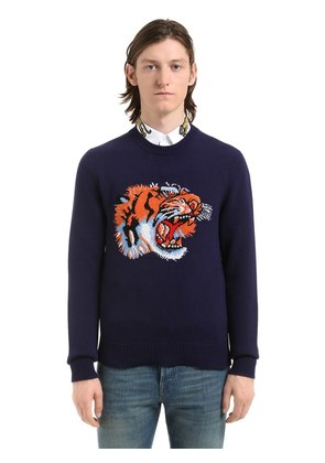 TIGER INTARSIA WOOL KNIT SWEATER