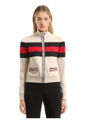 CRYSTAL PIPED TECHNO JERSEY JACKET