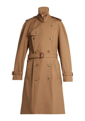 Tiger-appliqué double-breasted trench coat