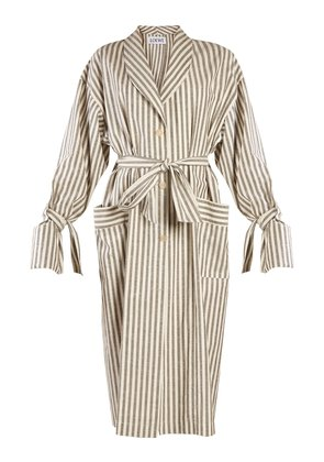 Tie-waist striped-cotton coat