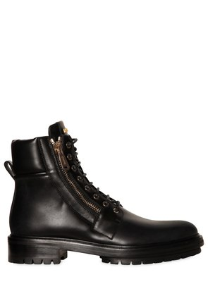 ARMY COMBAT ZIPPED LEATHER BOOTS