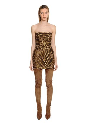 TIGER SEQUINED BUSTIER MINI DRESS