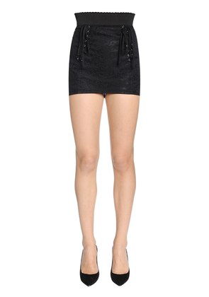 HIGH WAIST TECHNICAL LACE MINI SKIRT