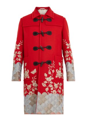 Floral-embroidered wool overcoat