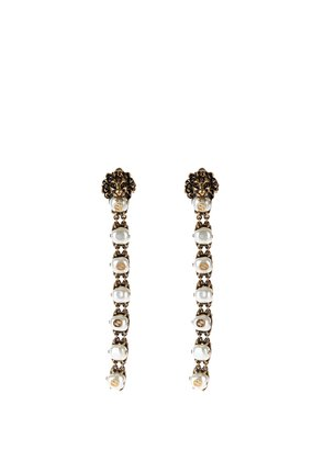 Pearl-effect embellished lion earrings