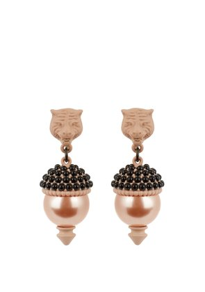 Feline pearl-effect embellished earrings