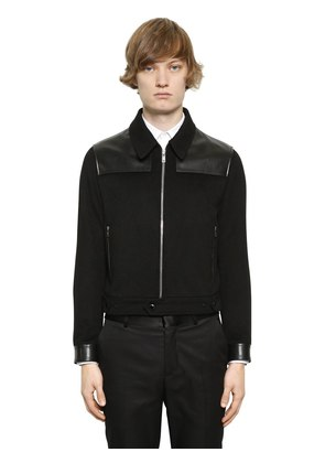 CASHMERE JACKET WITH LEATHER DETAILS