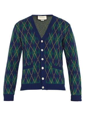 Argyle-intarsia wool and cashmere-blend cardigan