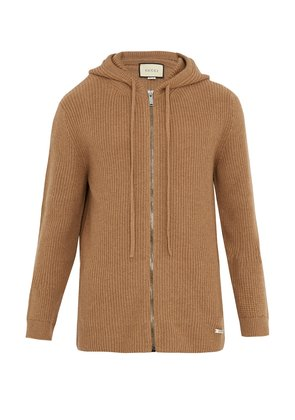 Hooded zip-through ribbed-knit wool cardigan