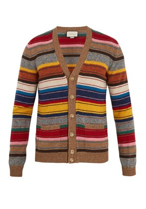 V-neck striped wool cardigan