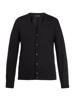 Long-sleeved button-front wool cardigan