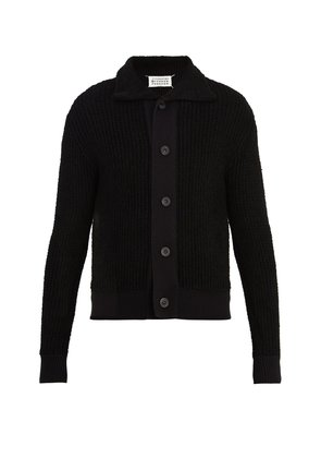 Point-collar ribbed-knit cardigan