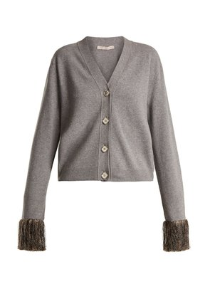 Fringed-cuff wool and cashmere-blend cardigan