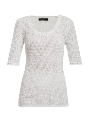 Round scoop-neck lace-knit top