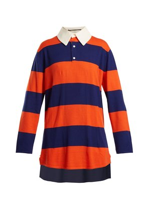 Oversized striped wool polo top