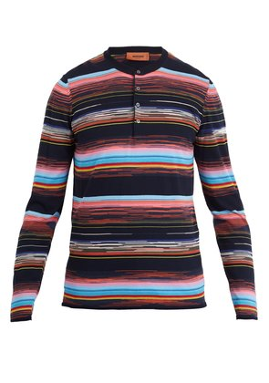 Long-sleeved cotton-knit polo shirt