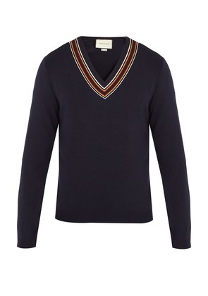 V-neck ribbon-trimmed wool sweater