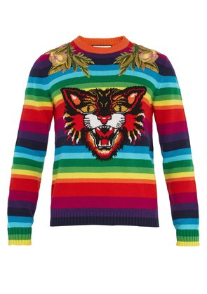 Angry Cat-intarsia striped wool sweater