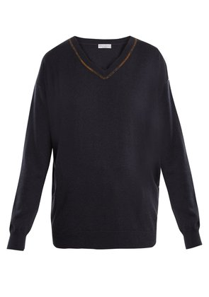 Embroidered V-neck cashmere sweater